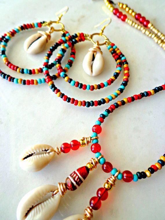 MultiColor Tribal Hoop Earrings and Necklace by KheperaAdornments