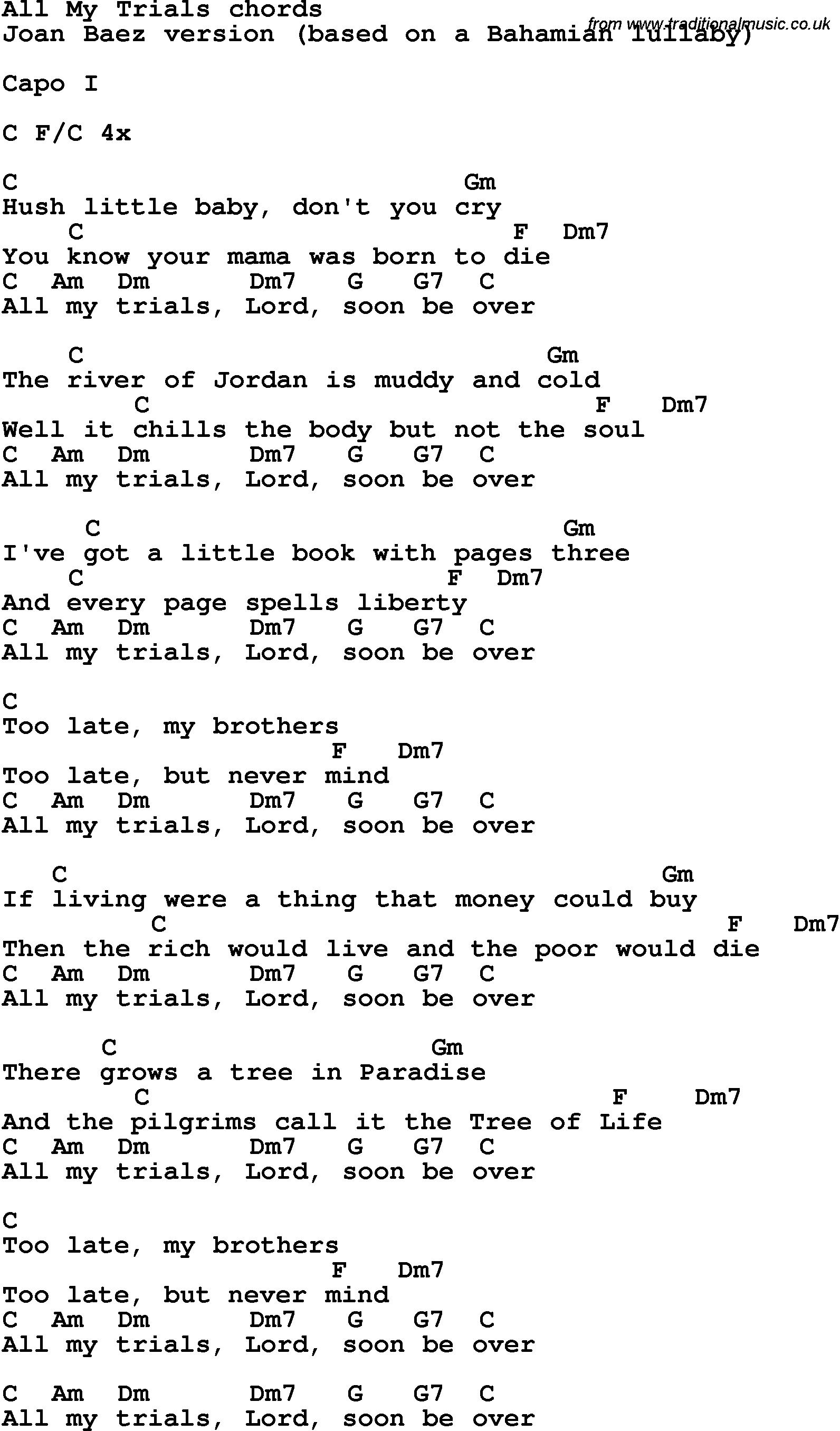 Song lyrics with guitar chords for all my trials joan baez rock and pop song lyrics with chords for all my trials joan baez hexwebz Choice Image