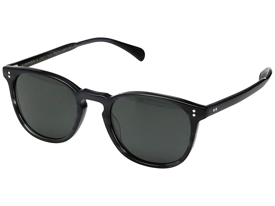 Oliver Peoples Finley Esq. (Charcoal Tortoise/Midnight Express) Fashion Sunglasses. Enhance your style even more with the Oliver Peoples Finley Esq. sunglasses. Acetate frame and temples. Mineral glass lenses offer 100% UVA/UVB protection. Keyhole bridge. Integrated nose guards. Custom Oliver Peoples hand-inlaid logo temples. Most complementary face shapes: oval  round. Protective case included. Made in Italy. Measurements: Ey #OliverPeoples #Eyewear #Fashion #GeneralFashionEyewear #Black