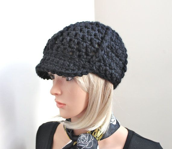 Deep Black Chunky Winter Brimster by Threadmill on Etsy, $30.00