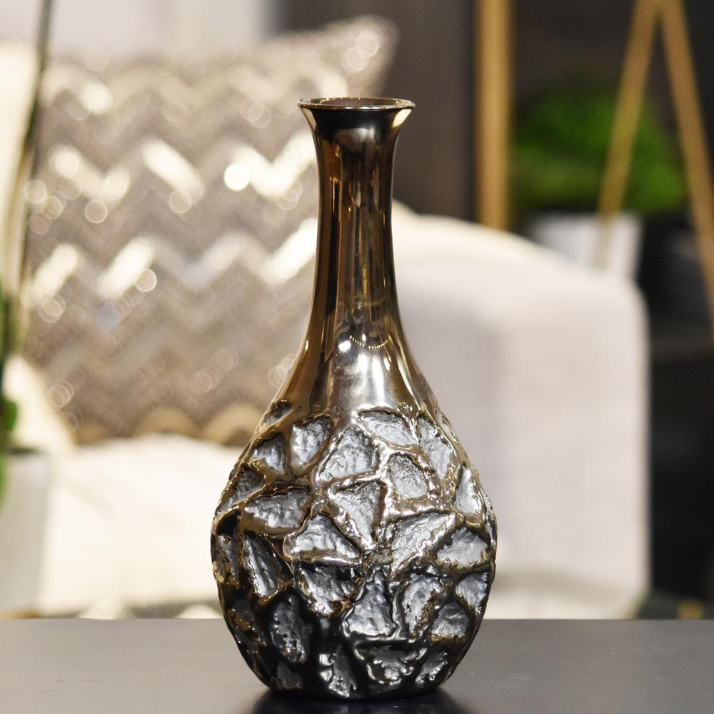 Gold Polished Chrome Rough Finish Ceramic Decorative Vase Yellows Golds Vases Decor Gold Ceramic Glass Cylinder Vases