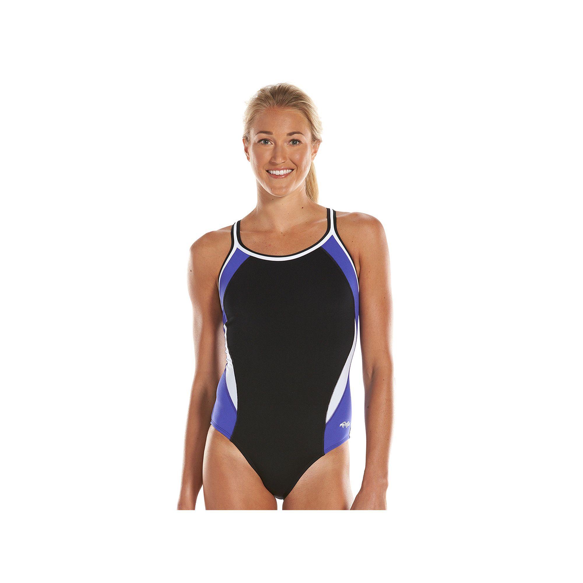 5593e5df2b Women's Dolfin Team Colorblock DBX Back Competitive One-Piece Swimsuit,  Size: 34 Comp, Purple