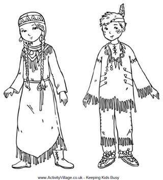 Native American Children Colouring Page Native American Children