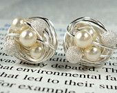 Cute gift for the girls....Cream/Star Dust - Swarovski Glass Pearl and Stardust bead Wire Wrapped Stud Earrings on Etsy