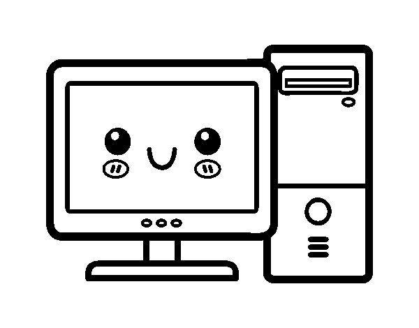 Dibujo De Ordenador De Sobremesa Para Colorear Computadora Para Colorear Dibujo Ordenador Dibujos