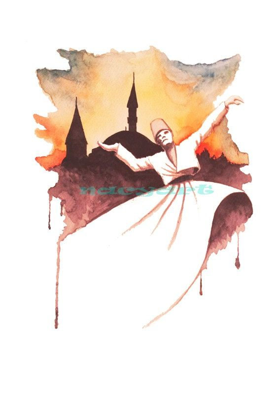 """The Dervish turns his right hand to sky and turns his left hand to ground. """"We give the people, that we have received from God."""" that mean./ Whirling Dervish Print A3 from original watercolor Sufi by nacyart #calligraphy"""
