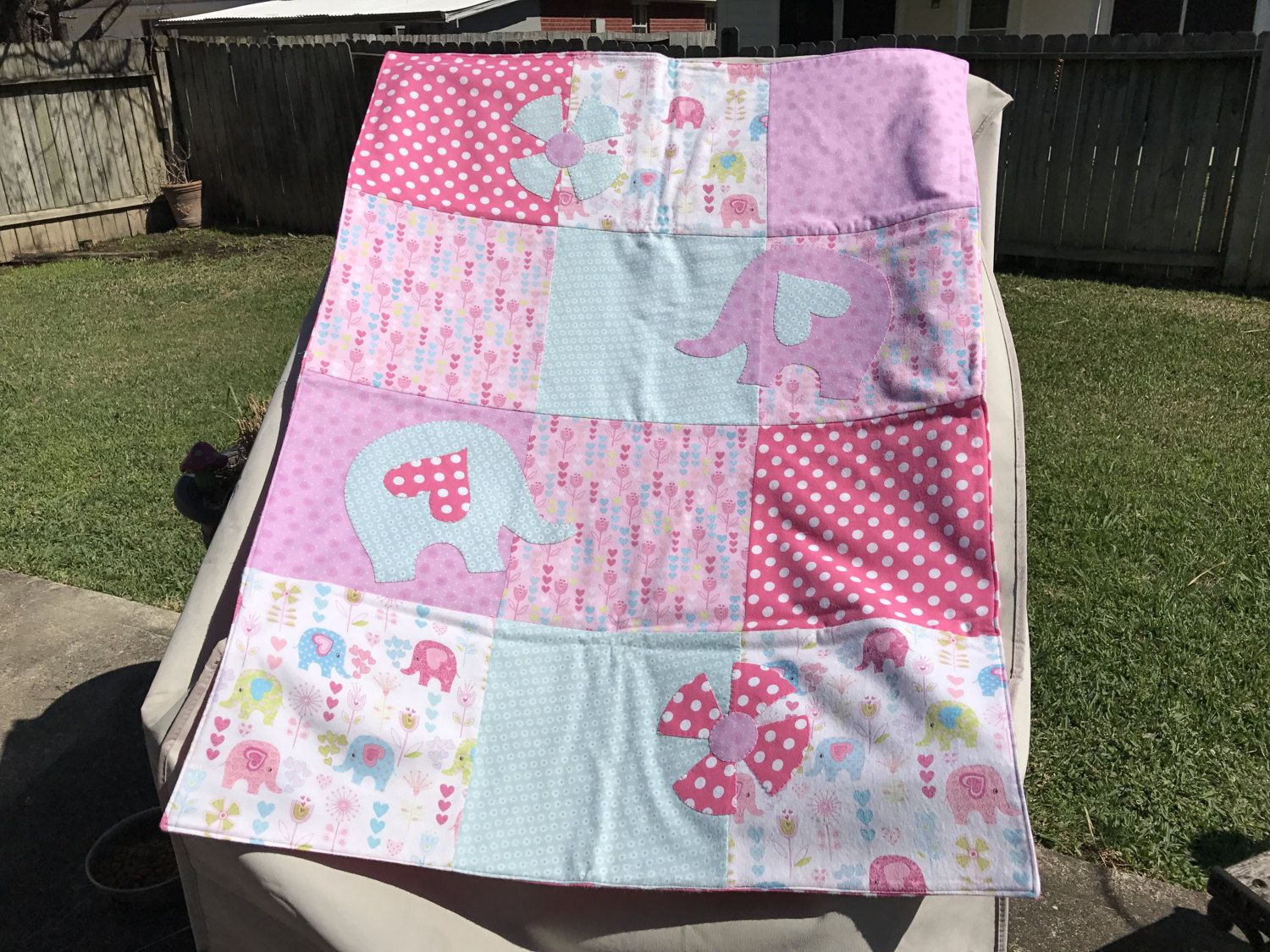 Girls Appliquéd Flannel Blanket by TeaTimeQuiltsnMore on Etsy