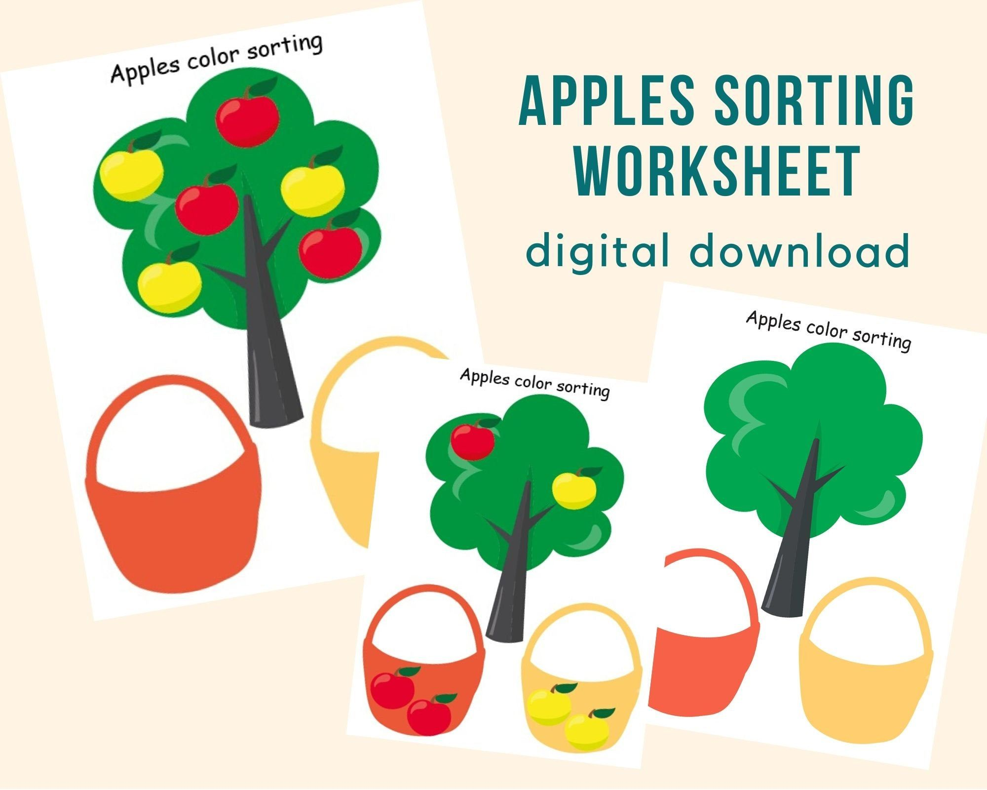 Apples Color Sorting Worksheets Toddler Busy Book Page