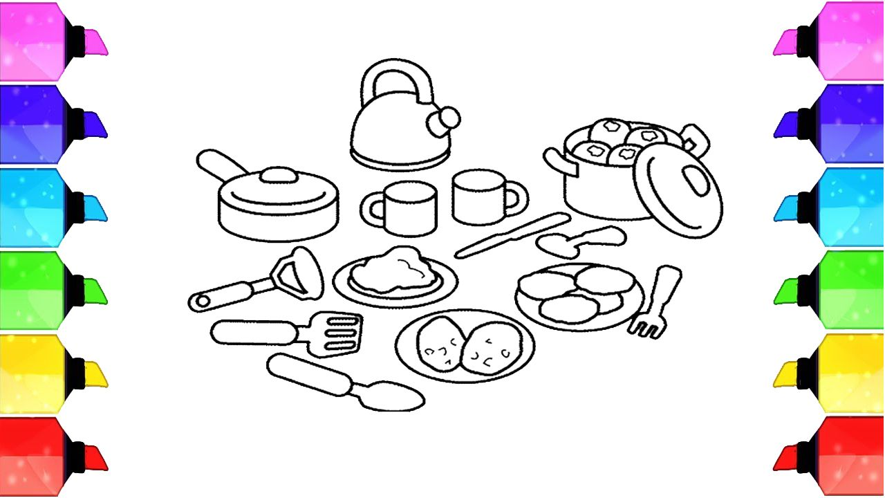 Drawings Of Cooking Utensils How To Draw Kitchen Cooking Utensils Coloring Pages Kitchen Sets For Kids Flower Drawing For Kids Coloring Pages