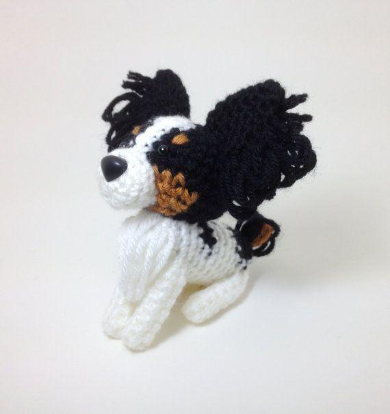 Animales de ganchillo rellenos de perro Papillon Amigurumi perrito ...