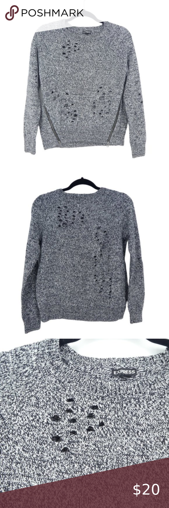 Express Distressed Destroyed Marled Knit Sweater Express Pullover Sweater Womens...