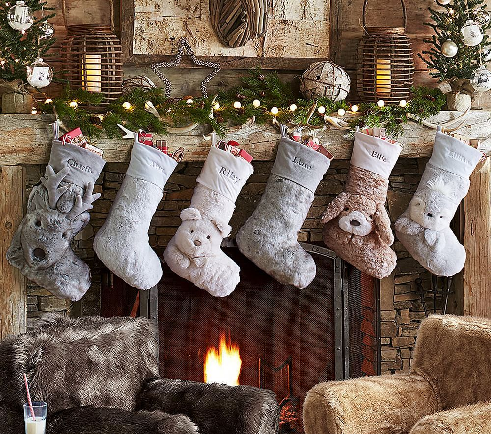 Faux fur stocking collection family christmas stockings