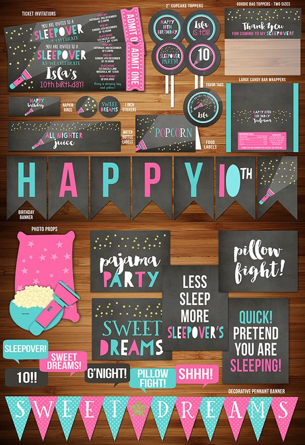 Printable Sleepover Chalkboard Ticket Birthday Invitation Complete Party Package Decorations - Slumber Party - Teenager - Movie Night
