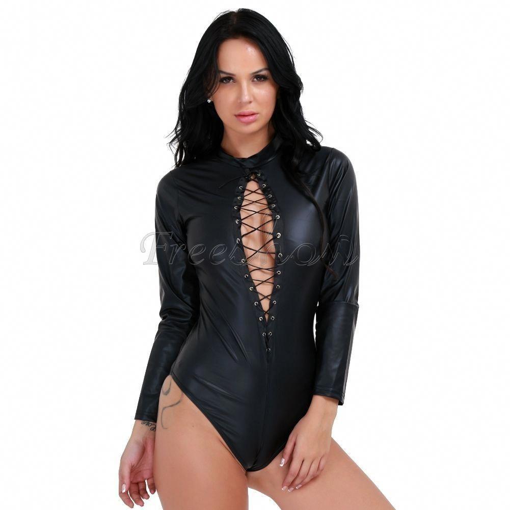 Women/'s Leather Leotard Bodysuit Zipper Lace up Jumpsuit Catsuit Clubwear Romper