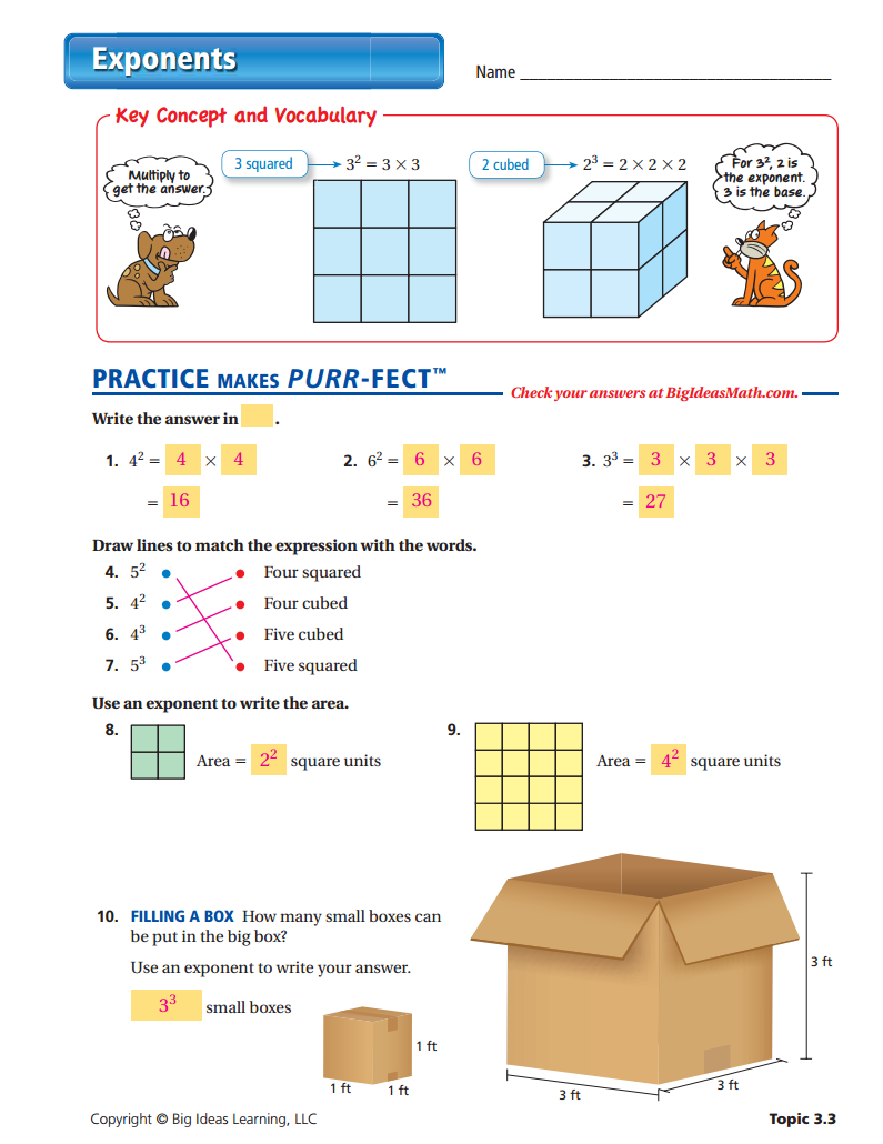 Exponents Worksheet - ANSWERS | Number Properties (Middle School ...