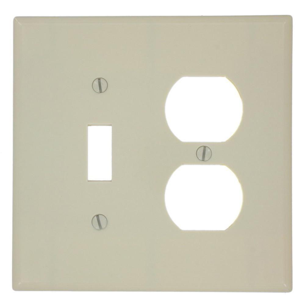 Ivory Midway Size Leviton 80505-I 2-Gang 1-Toggle 1-Duplex Device Combination Wallplate