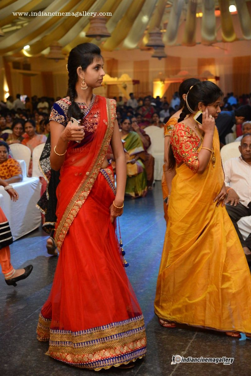 Lehenga saree for wedding bride nice red color half saree but pinned for the gold n red combo saree