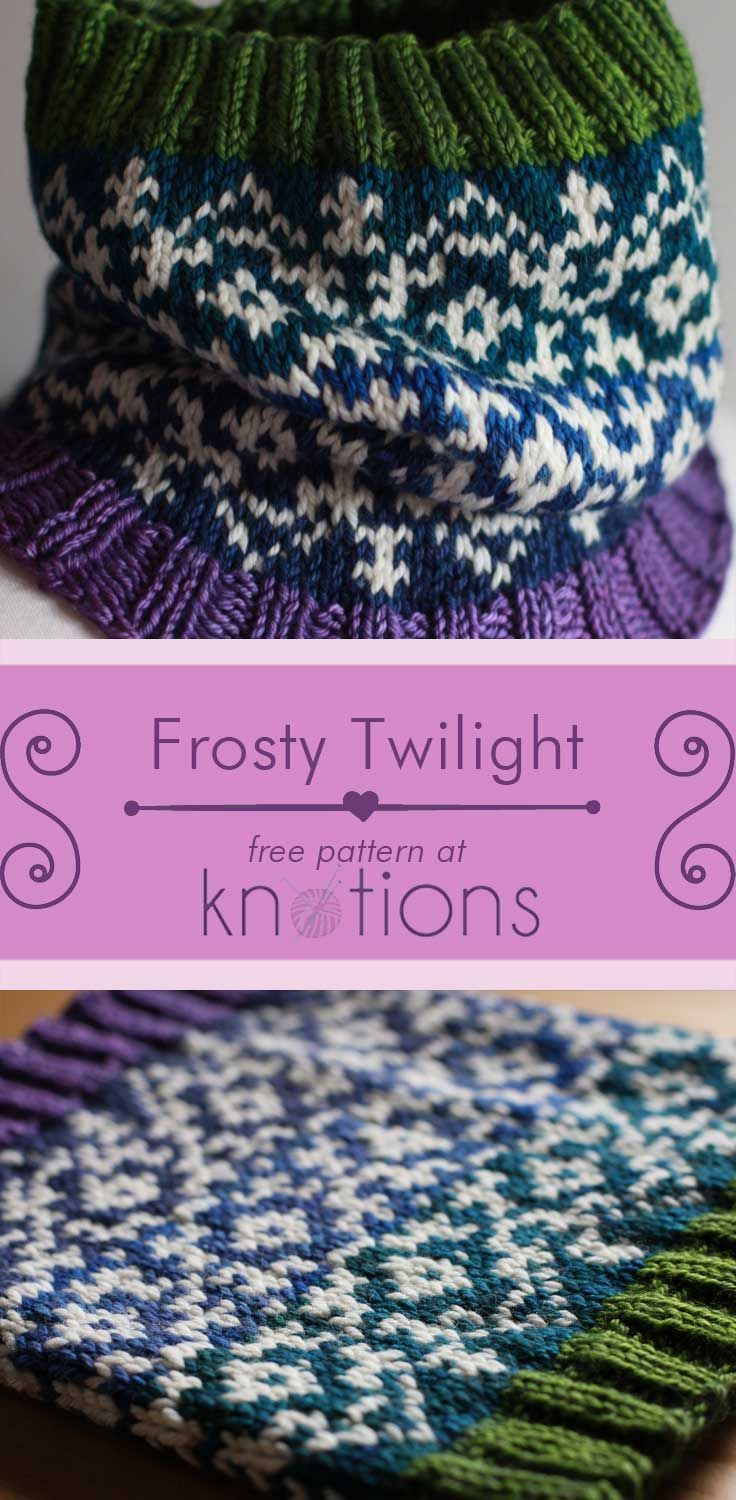 Free knitting pattern for a cowl with a stranded knitting pattern in ...