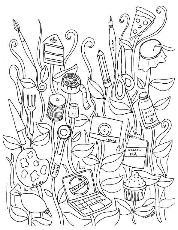 Crafty Coloring Page · Adult Coloring Book ...