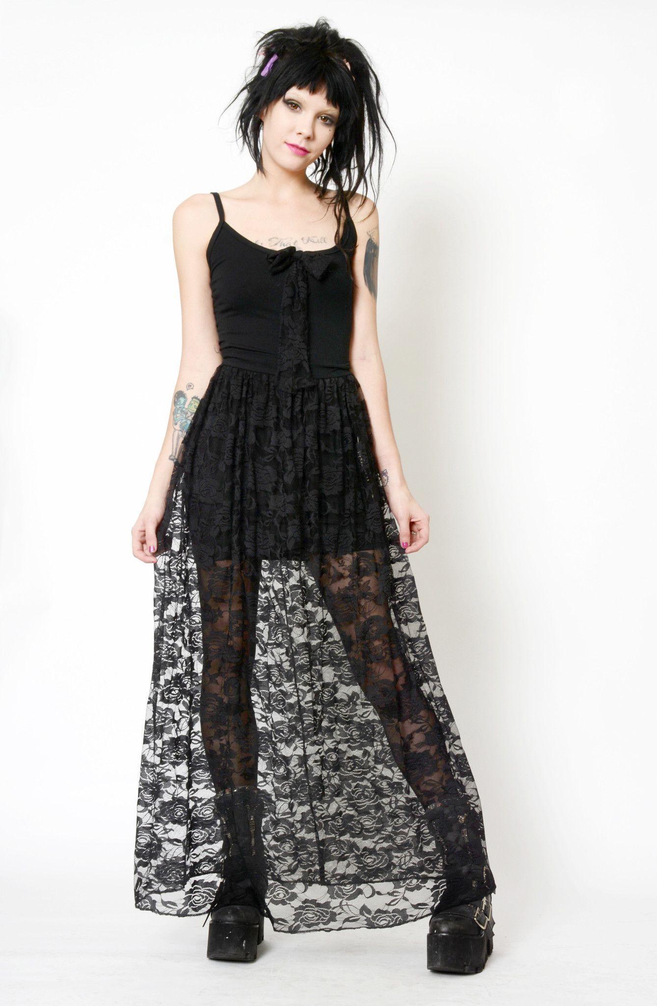 Witchy black lace dress lace bows black laces and lace dress