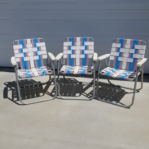 Vintage Folding Lawn Beach Patio Chairs Aluminum Webbed Pink Blue White Set of 3 is part of lawn Chairs Patio Sets -