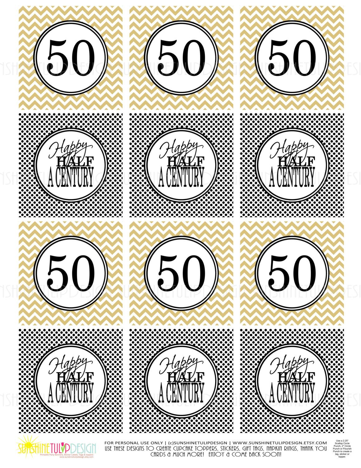 50th Birthday Half A Century Printable Gift Tags Cupcake Toppers Sticker Labels By SUNSHINETULIPDESIGN Sunshinetulipdesign On Etsy