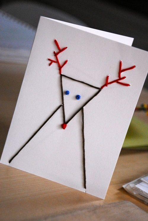 Tarjetas de Navidad originales hechas a mano: figuras con puntadas
