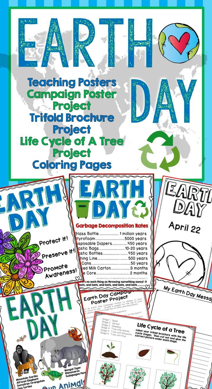 Earth Day Trifold Brochure Project, Teaching Posters, Life