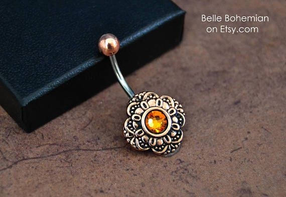 5b5dbfacc64b5 November Birthstone - Rose Gold Belly Button Ring - Hand Set ...