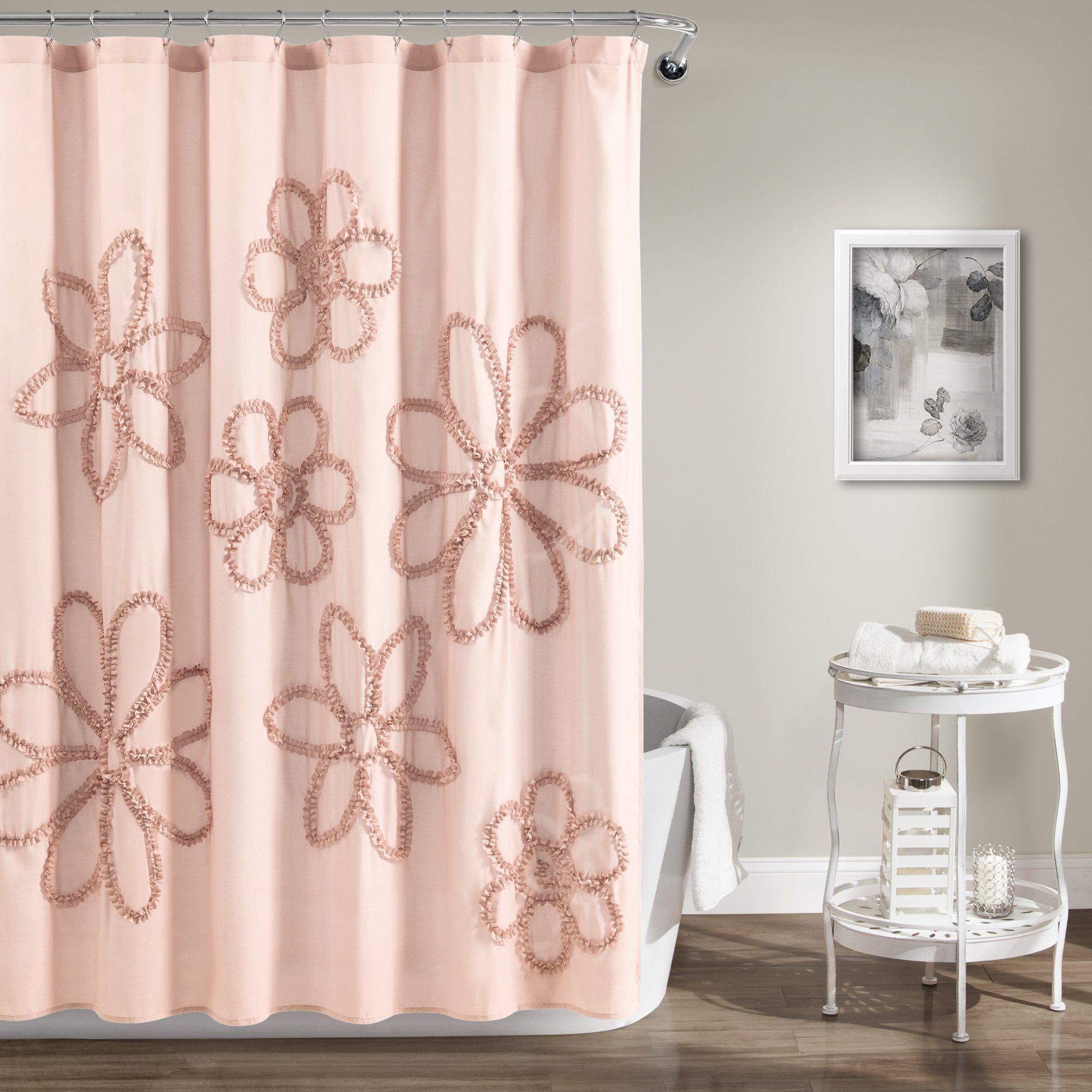 Ruffle Flower Shower Curtain In 2020 Flower Shower Curtain Lush