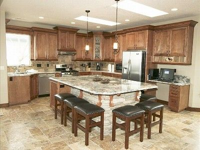 Large Kitchen Island Seating On Fully Equipped Gourmet Kitchen With A Large Granite  Island Bar