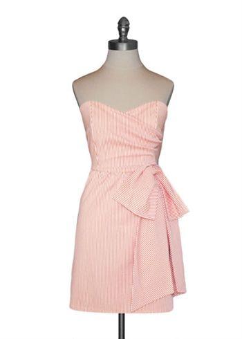 Judith March Sweetheart Side Bow Dress Orange