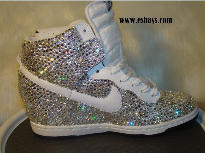 finest selection 5836d 371b3 Custom Fully Covered Swarovski Crystals Nike Dunks Bling Rhinestone - White Nike  Dunk Sky Hi Wedge Sneaker