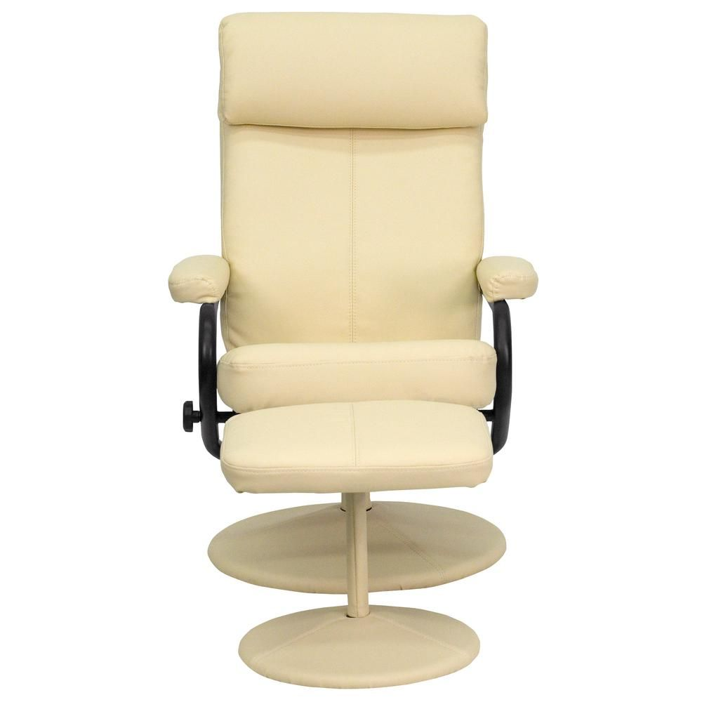 Flash Furniture Contemporary Cream Leather Recliner And Ottoman With Leather Wrapped Base Ivory Leather Recliner Contemporary Furniture Furniture