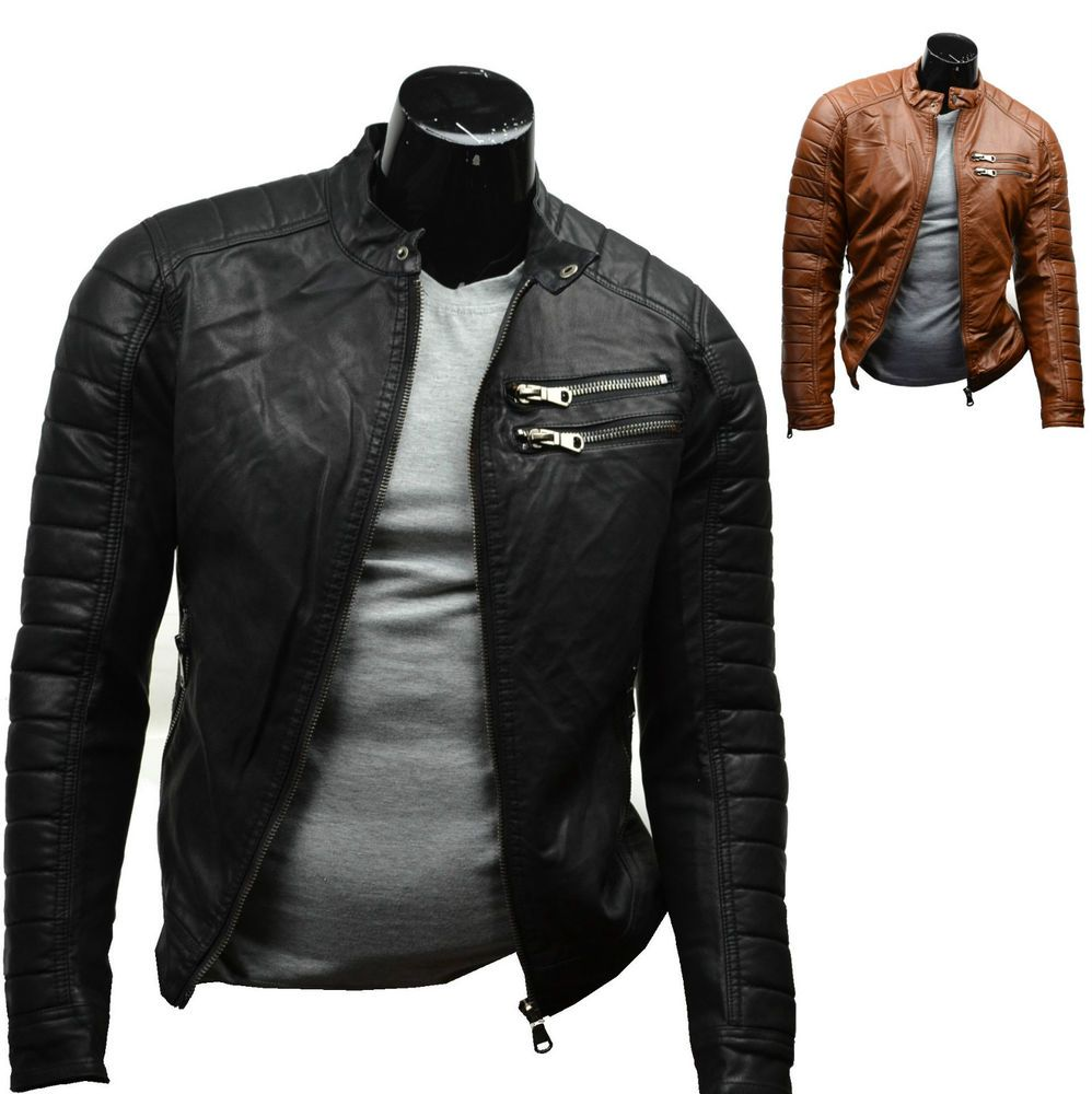 veste blouson homme simili cuir noir style motard s. Black Bedroom Furniture Sets. Home Design Ideas