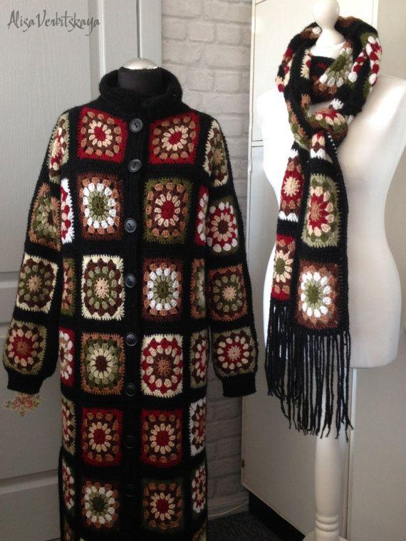 Crocheted coat Jacket Granny square coat Female cardigan Scarf Handmade coat Fashion design Autumn coat Boho coat Black coat #lefashion