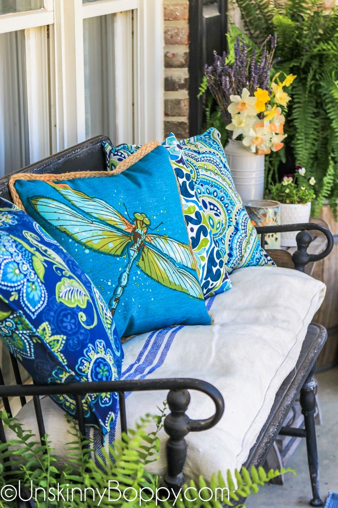 Blue And Green Dragonfly Outdoor Pillow From Lowes In 2019 Porch Decorating Porch Summer Porch