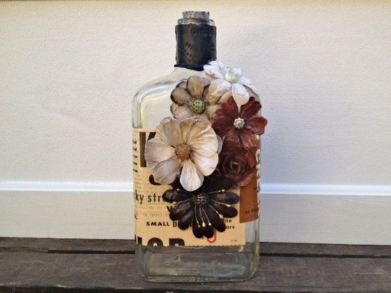 Repurposed Liquor Bottle Vase With Coated Paper By Eviegrace 1200