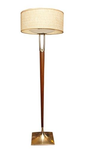 Laurel Wishbone Floor Lamp In Teak And Brass Circa 1970 900