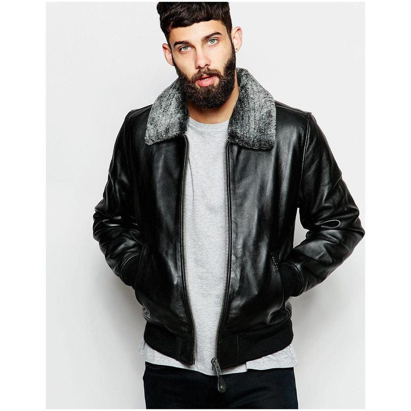 Black leather bomber jacket with fur collar