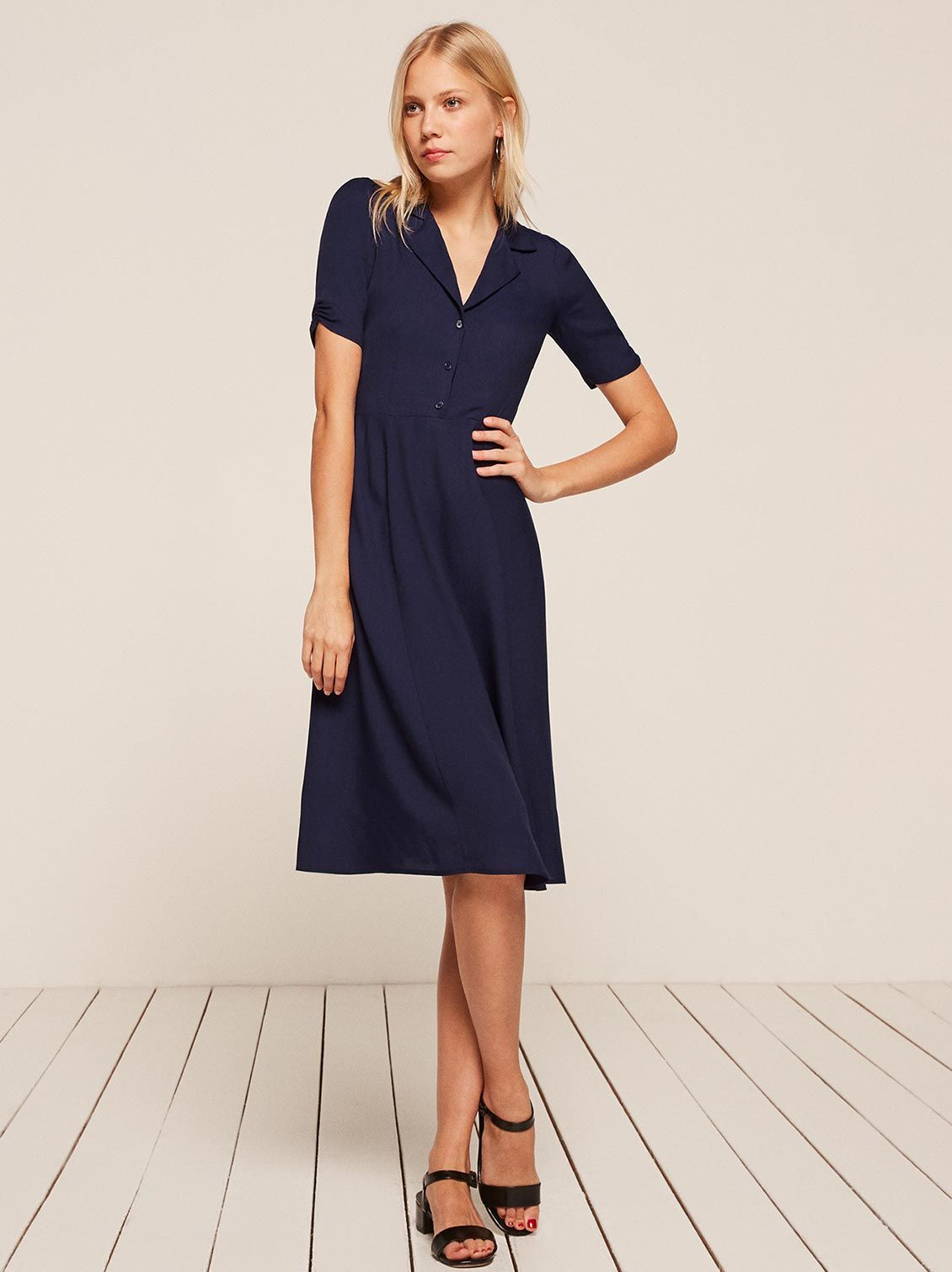 Aail Shirt Dress Navy Blue Reformation
