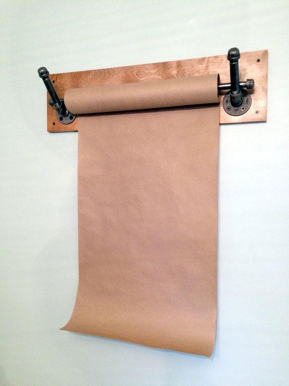 kraft paper dispenser wall mount industrial pipe industrial decor