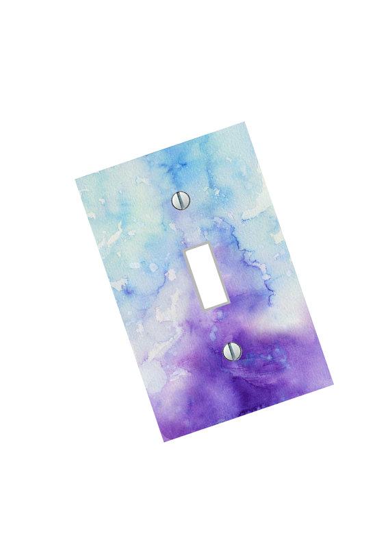Light Switch Plate purple blue abstract by SindyOriginalDecor