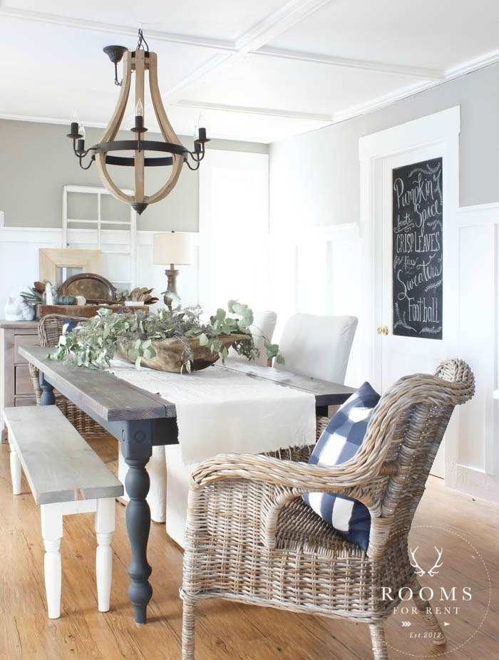 Rustic Farmhouse Or Country Style Dining Room The Best Paint Colours To Get Look