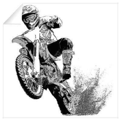 Black White Dirt Bike Wheeling In Mud Wall Decal Wohnideen Wohnen Idee