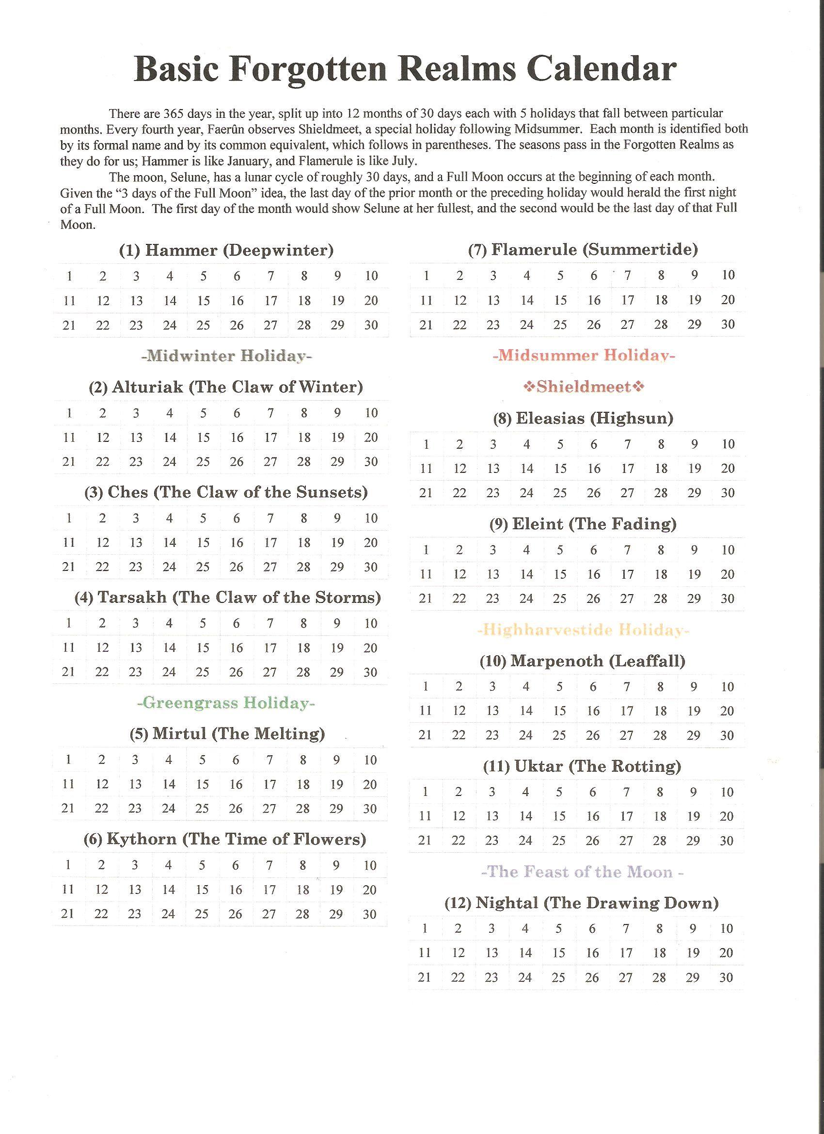 Faerun Calendar.Fr Basic Calendar Dragon Heist In 2019 Forgotten Realms