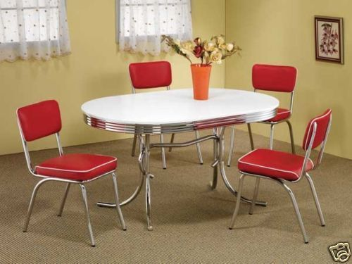 1950S Style Chrome Retro Dining Table Set & Red Chairs Dining Room Best Dining Room Chairs Red Review