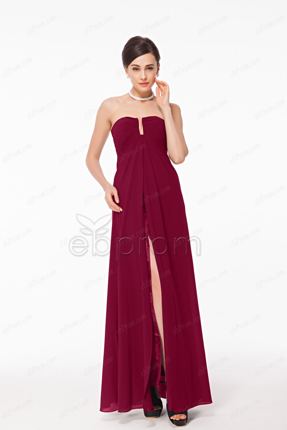 Wedding Burgundy Prom Dress long burgundy prom dresses with slit sexy and 2015 strapless dress