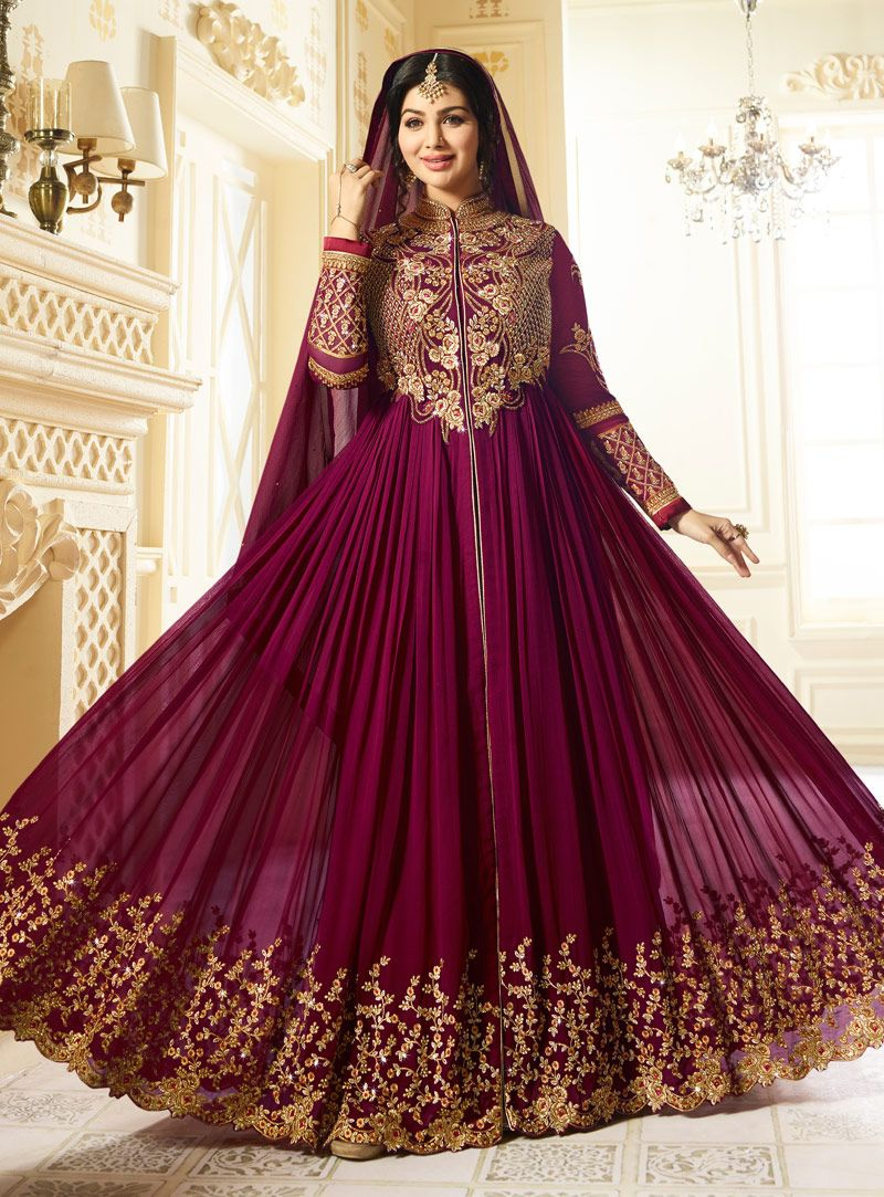 Ayesha takia purple georgette floor length anarkali suit