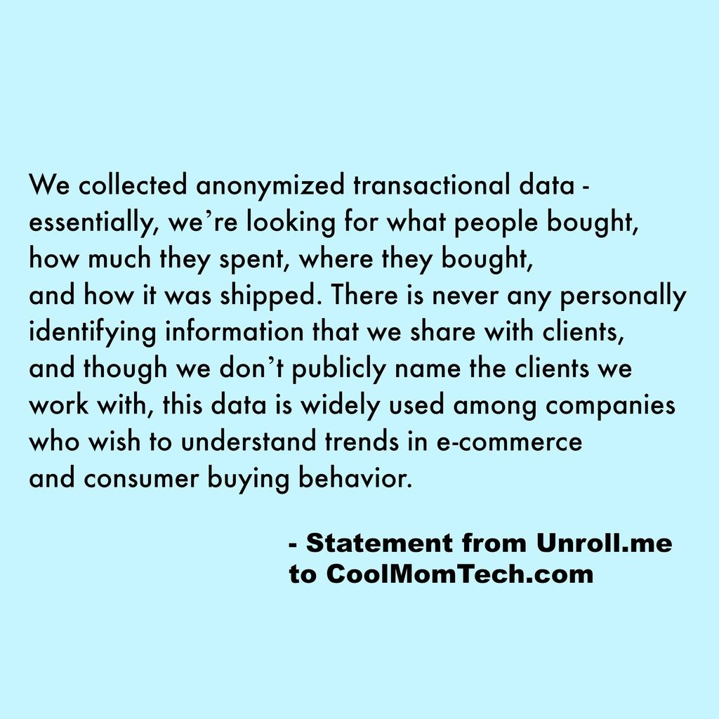 Statement From UnrollMe About Safety Of Data  Cool Mom Tech